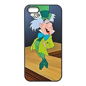 Disney Alice In Wonderland Character Mad Hatter funda iPhone 5 5s caja funda del teléfono celular del teléfono celular negro cubierta de la caja funda EEECBCAAB16944