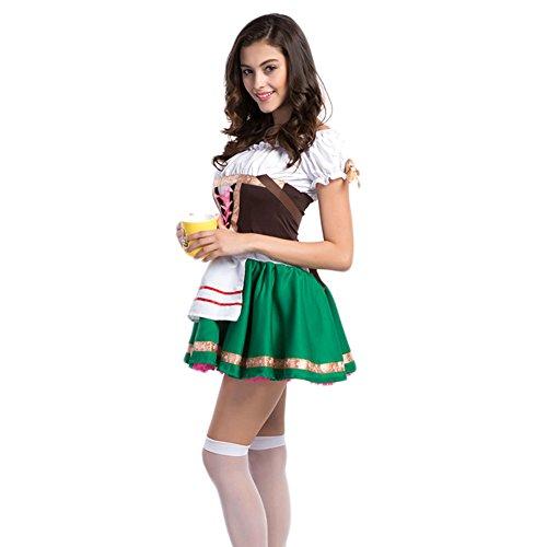 Hongyuanbb Ladies Oktoberfest Beer Maid Wench German Bavarian Heidi Fancy Dress Costume (German Beer Maid Outfit)