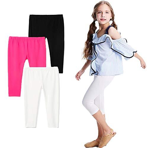 Bear Mall Capris Leggings Girls/Girls' Cotton Capri Crop Summer Leggings for School Play (5T / Little Girl, Black/White/Pink)