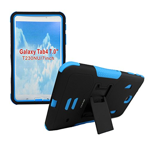 [iRhino] TM Black-blue Heavy Duty rugged impact Hybrid Case cover with Build In Kickstand Protective Case For Samsung galaxy Tab 4 7 inch T230 Tablet