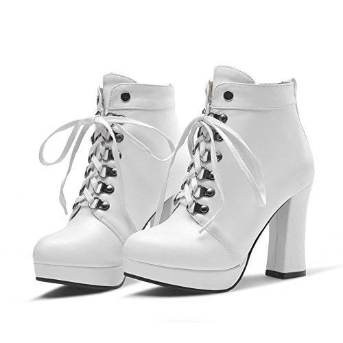 Leather Bandage Chunky Platform Girls Imitated Boots Heels 1TO9 White aZ74Pqc