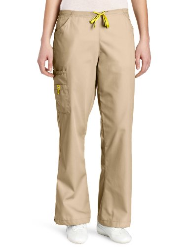 WonderWink Women's Scrubs Romeo 6 Pocket Flare Leg Pant, Khaki, (Khaki Apparel)