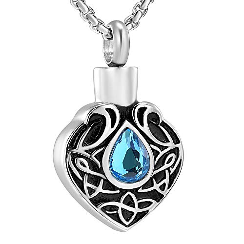 (EternityMemory Hold Multi-Colored Crystal Celtic Knot Teardrop Cremation Urn Necklace Ashes Holder Keepsake Jewelry (Blue Stone) )