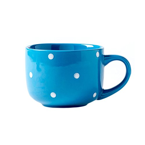 CHOOLD Large Ceramic Coffee Mug Polka Dot Milk Cup Tea Cup Jumbo Mugs Soup Bowl with Handle for Couple 15oz(Colorful) ()