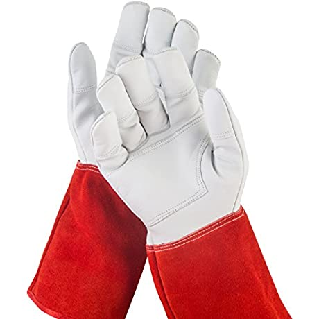 NoCry Long Leather Gardening Gloves Puncture Resistant With Extra Long Forearm Protection And Reinforced Palms And Fingertips Size Small