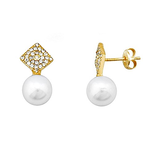 Boucled'oreille 18k or perle de culture de 7 mm. zircons diamant [AA5992]