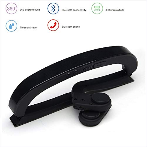 Bluetooth 5.0 Bone Conduction Headphones, Wireless Sport Headset Stereo Waterproof and Can Connect Instruments, Support Computer, MP3, Mobile Phone,Black