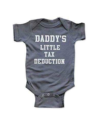 cute & funny Daddy's Little Tax Deduction Bodysuit Surprise Baby Shower Gift (Newborn Bodysuit, Charcoal) ()