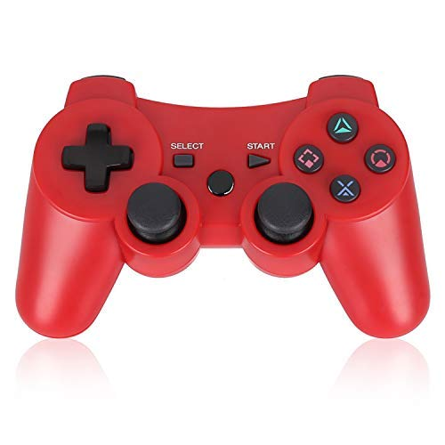 PS3 Controller Wireless Double Shock Gamepad for Playstation 3, Sixaxis Wireless PS3 Controller with Charging Cable,Compatible with Playstation 3 (RED) (Six Button Ps3 Controller)