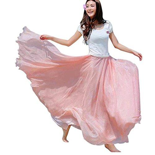 Saingace Women Skirt, Elastic Waist Chiffon Long Maxi Beach Solid Midiskirt (Hippie Vintage Wrap)