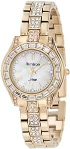 Armitron Women's 75/5053MPGP Swarovski Crystals Accented Round Gold-Tone Bracelet Watch