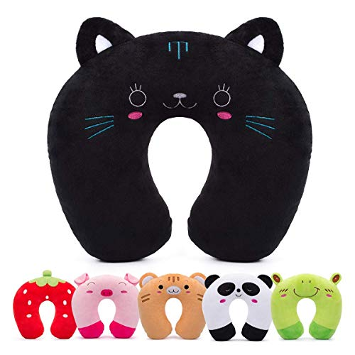 HOMEWINS Travel Pillow for Kids Toddlers - Soft Neck Head Chin Support Pillow, Cute Animal, Comfortable in Any Sitting Position for Airplane, Car, Train, Machine Washable, Children Gifts (Cat)