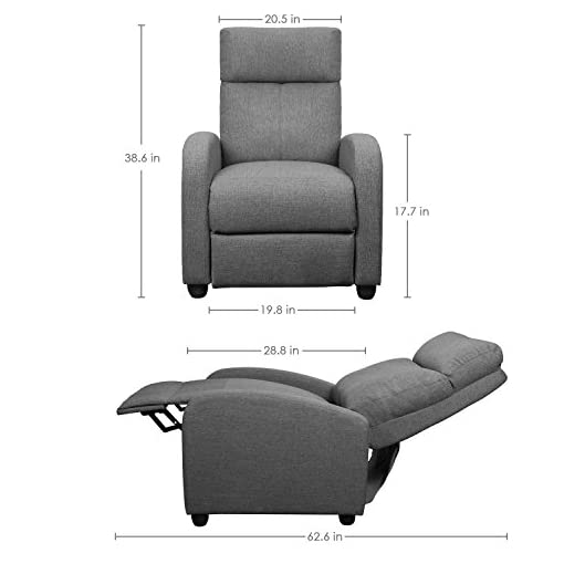 JUMMICO Fabric Recliner Chair Adjustable Home Theater Single Recliner Sofa Furniture with Thick Seat Cushion and Backrest Modern Living Room Recliners Brown