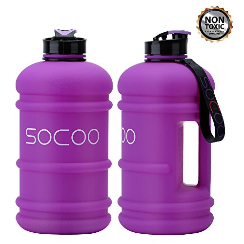 SOCOO Water Bottle Large Chic Rubber Coating 2.2Liter Big Water Jug For Women Men Gym Fitness Workout Plastic Camping Water Jug (Rubber-coating Purple)