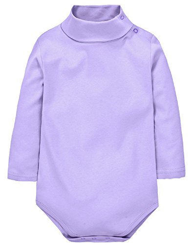 [Sunnysame Baby Fall Clothes Cotton Long-sleeve Turtleneck Bodysuit One-piece -24Mpurple] (Turtles Suit)