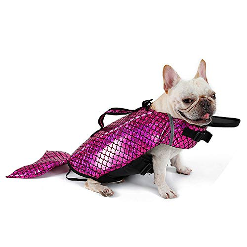 - KINGSWELL Dog Life Jacket Mermaid Floatation Vest Saver Safety Swimsuit Preserver Pet Lifesaver with Reflective Lines and Adjustable for Small Medium Large Dogs (M)