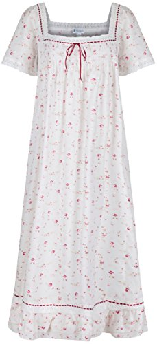 Vintage Granny - The 1 for U 100% Cotton Short Sleeve Nightgown - Evelyn (XS, Vintage Rose)