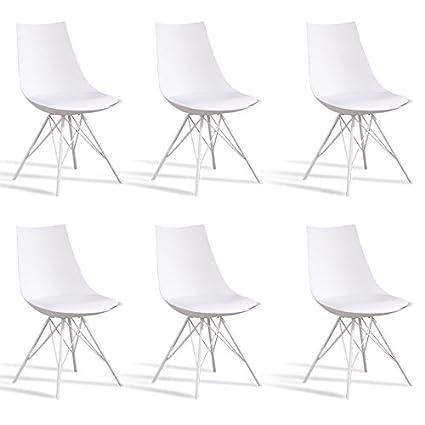 Designetsamaison Lot De 6 Chaises Blanches Eiffel Amazon Fr