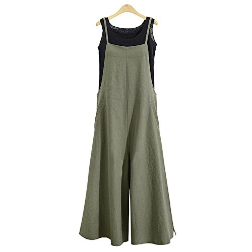 Women's Jumpsuit Casual Loose Long Suspender Twin Side Bib Pants Large Size (3XL, Green)