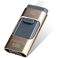 Volibel 32GB USB 2.0 Flash Drive for iPhone,iPad,iPod Compatible with IOS,Android,Windows Free APP - Gold