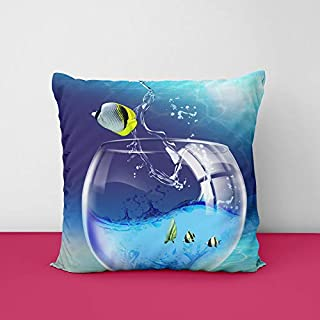 Bowel Fish Square Design Printed Cushion Cover
