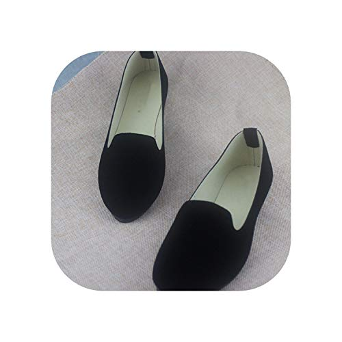 Spring Autumn Women Ballet Flats for Woman Slip On Casual Shoes Office Lady,Black,43