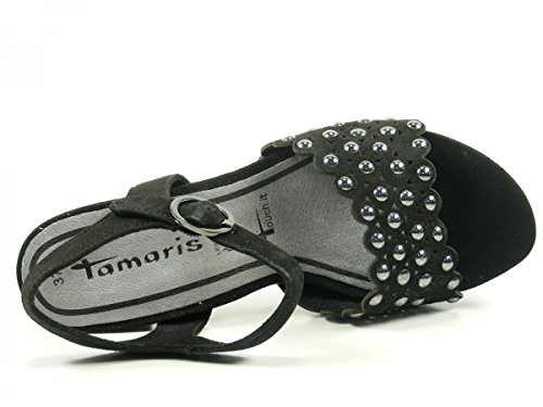 Tamaris Schuhe 1-1-28385-38 Bequeme Damen Sandalette, Sandalen, Sommerschuhe für Modebewusste Frau, Schwarz