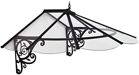 Palram HG9575 Victorian Door Awning, 49 x 69 x 31 , Clear Black