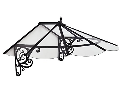 Palram HG9575 Victorian Door Awning, 49' x 69' x 31', Clear/Black