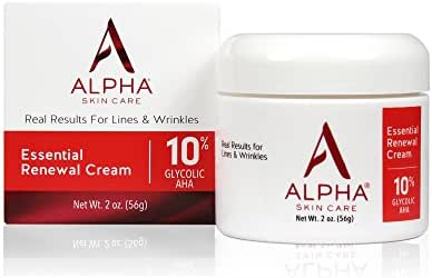Alpha Skin Care Essential Renewal Cream   Anti-Aging Formula   10% Glycolic Alpha Hydroxy Acid (AHA)   Reduces the Appearance of Lines & Wrinkles   For Normal to Dry Skin   2 Oz