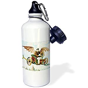 "3dRose wb_102667_1″Vintage Steampunk Flying Machine Dirigible Design"" Sports Water Bottle, 21 oz, White"