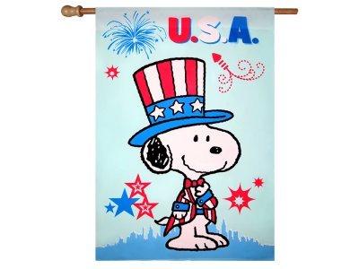 Peanuts PATRIOTIC USA HOUSE FLAG 28