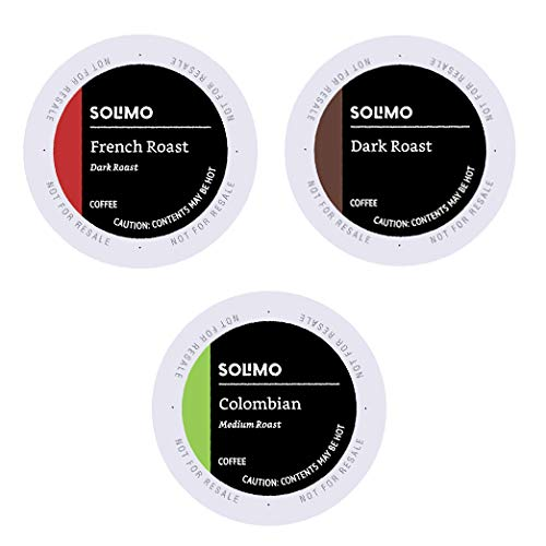 Amazon Brand - 100 Ct. Solimo Variety Pack Medium and Dark Roast Coffee Pods (Colombian, Dark, French Roast), Compatible with Keurig 2.0 K-Cup Brewers
