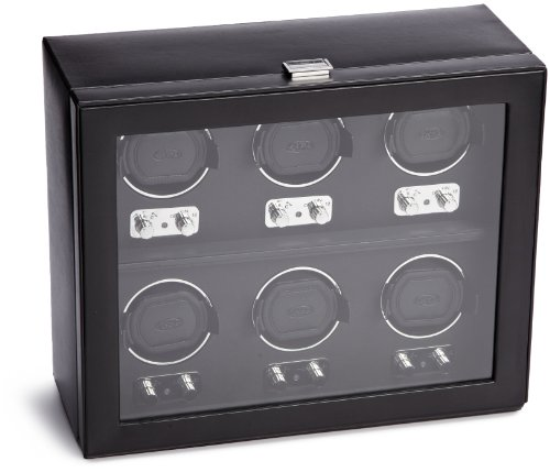 WOLF 270702 Heritage Six Piece Watch Winder with Cover, Blac