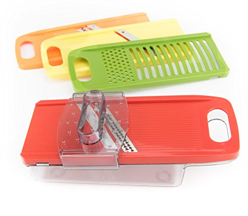 Purchase Zell Multipurpose Vegetable Slicer and Grater Set | 4 Interchangeable Stainless Steel Blades with Hand Guard & Storage Safety Stand | Durable Lightweight Slicer for Vegetables, Cheese & Potato lowestprice