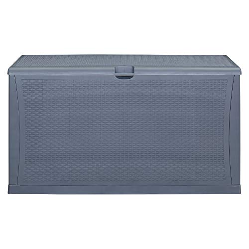 Wonlink Wicker Resin Deck Box,Outside Storage Box Waterproof,120 Gallon Storage Trunk,Grey