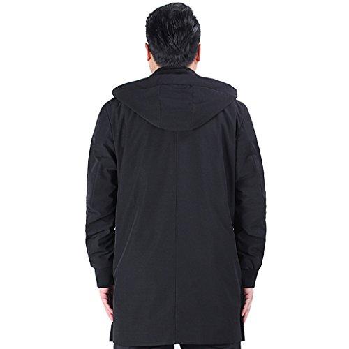 Clásico para Hombre Gabardina Larga negro Básico Abrigo E artist Manga xHqI0a