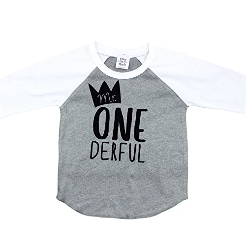 Olive Loves Apple Mr One-Derful Baseball Tee Shirt for Boys 1st Birthday Shirt,Gray 3/4 Sleeve,18 Months (3/4 Sleeve Birthday)