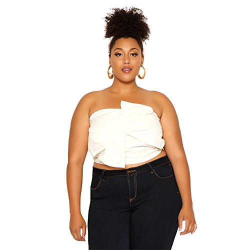 Astra Signature Women' s Sexy Solid-Color Twist Bowknot Front Bustier Strapless Tube Crop Top ()