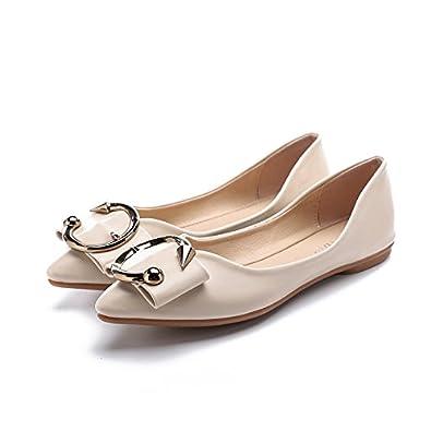 Frauen Wies Dünne Schuhe Flache Schuhe Flache Mund Metall Schnalle, Schwarz, 38 LEIT