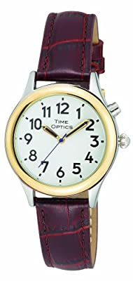TimeOptics Women's Talking Two-Tone Day-Date Alarm Leather Strap Watch # GWC100T