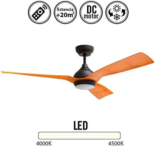 Klass Fan Ventilador de Techo con luz Serie Waterwind Color Madera ...