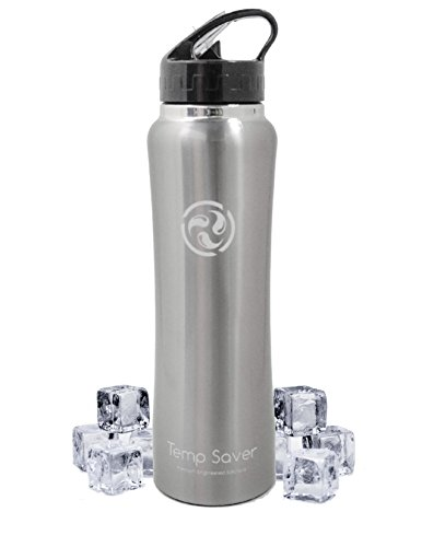 Premium Engineered Solutions Temp Saver Stainless Steel Vacuum Insulated Wide Mouth Double Wall Water Bottle with Straw Cap, 34 oz.