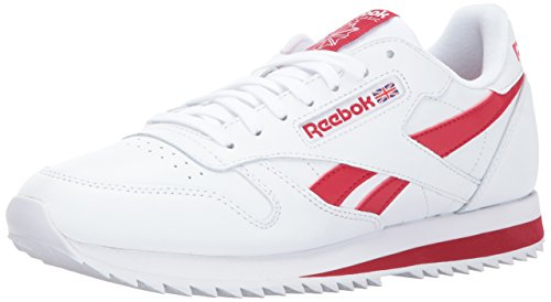 Reebok Men CL Leather Ripple Low BP Fashion Sneaker White/Excellent Red