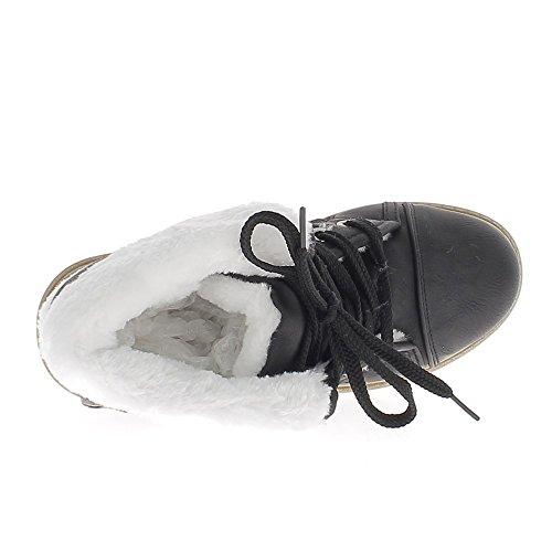 Negro botas de talón trasero 3,5 cm rellenada efecto costura