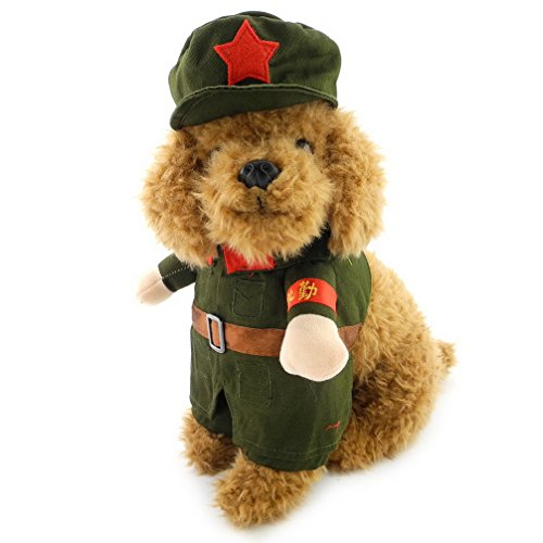 Ranphy Small Dog Cat Sweatshirt Overalls Female Male Dog Costume Military Coat with Hat Soldier Coat Pet Jacket Green (Dog Haloween Costume)
