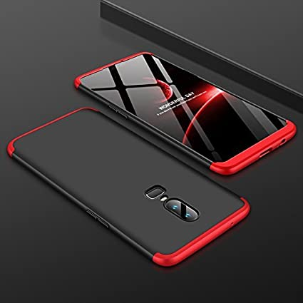 buy online 704a9 114ff Spazy Case Hard Front And Back Case For Oneplus 6 (Black,Red)