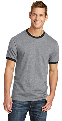 Cotton Ringer T-shirt (Port & Company PC54R 100% Cotton Ringer Tee - Athletic Heather/Jet Black - XL)