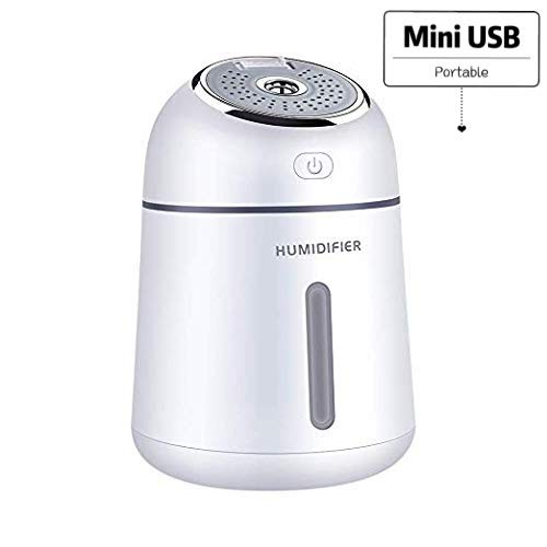 Humidifiers, XQ005 330ml Ultrasonic Cool Mist Humidifiers for Bedroom Baby Kids, Portable Mini USB Humidifier, for Desktop Office Car Air Purifier with Fan, LED Light, Quiet Operation, Auto Shut-Off
