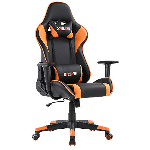XPELKYS Gaming Chair Computer Game Chair Video Game Chair Racing Style High Back PU Leather Chair Executive and Ergonomic Style Swivel Chair with Headrest and Lumbar Support (Orange)
